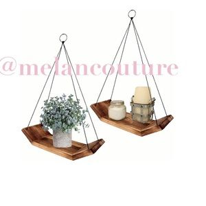 Set of 2 Solid Wooden Hanging Shelves Decor